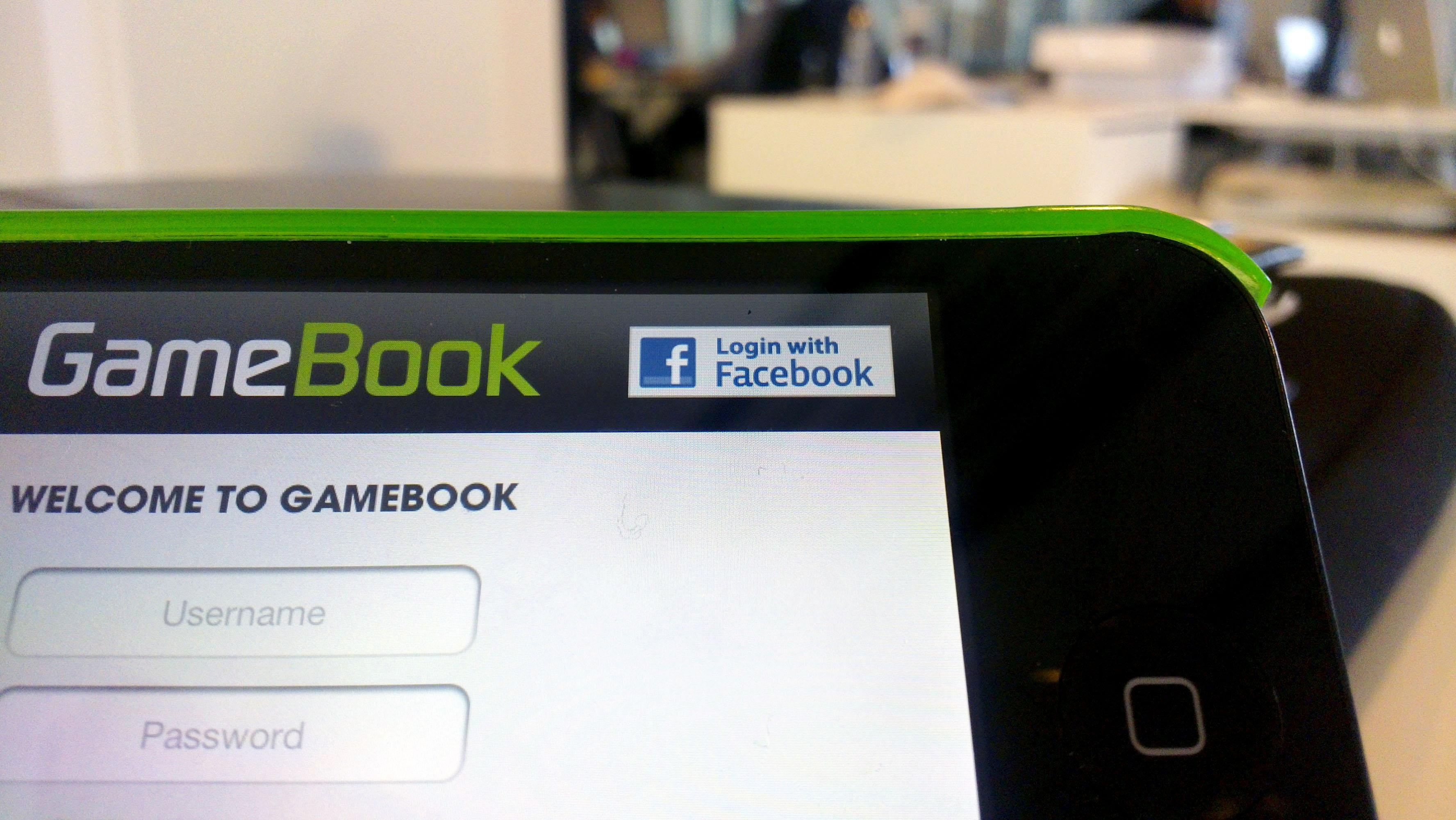 When using the GameBook app you also have the opportunity to login with Facebook.