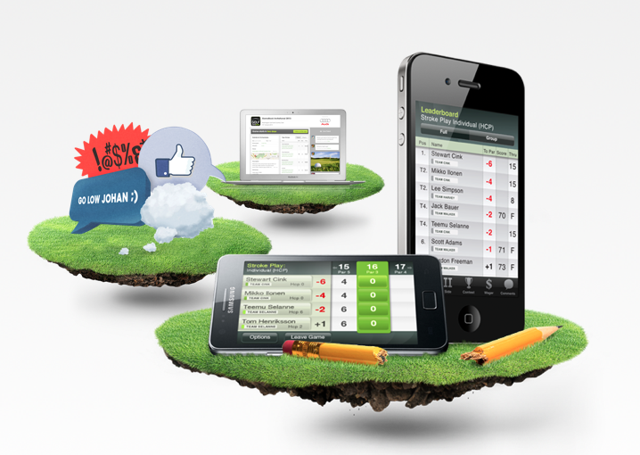 The GameBook family. There's the app and the online services plus you can always share your golfing experience on other social media platforms as well.
