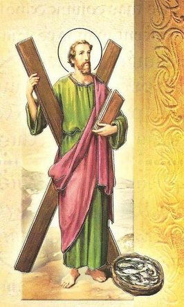 Saint Andrew, the Patron Saint of Scotland with the X-shaped cross he was crucified on.
