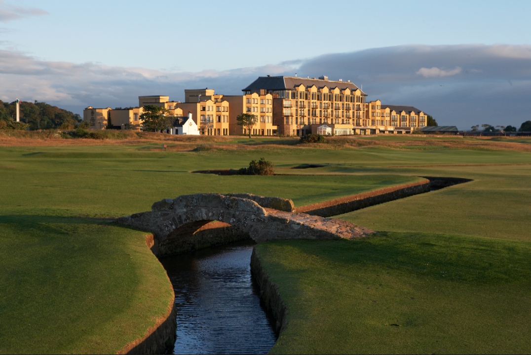 Old Course Hotel at St Andrews has a view over the famous Swilcan Bridge.