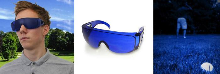Find your golf balls easier with the help of these blue glasses.  (Photos:  latestbuy.com)