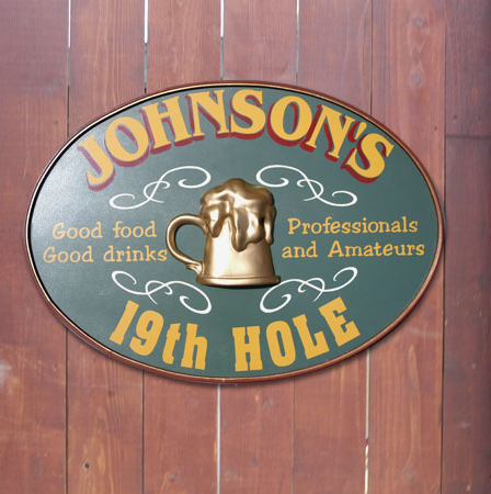 Turn your friends kitchen into the best 19th hole in town.  (Photo: personalizedsignshop.com)