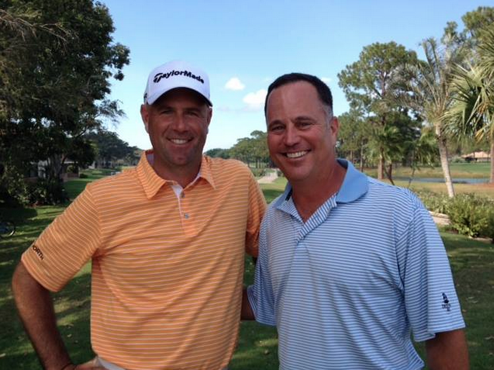 GameBook ambassador and Major winner Stewart Cink (left) together with our grand prize winner Richard Joblove.