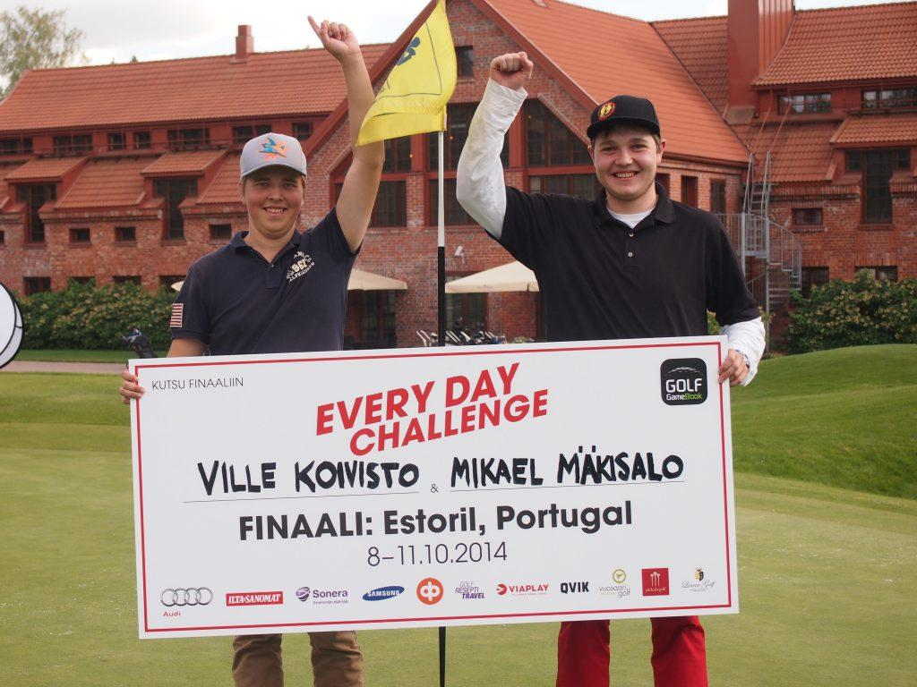 Ville Koivisto and Mikael Mäkisalo after winning the semifinal at Linna Golf.