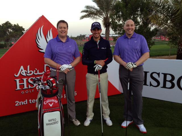 Iain Parker (on the left) and his Friend Chris Wilson (on the right) got to spend one of the most memorable days of their golfing careers with Matteo Manassero (in the middle) at the Abu Dhabi HSBC Golf Championship Pro-Am.