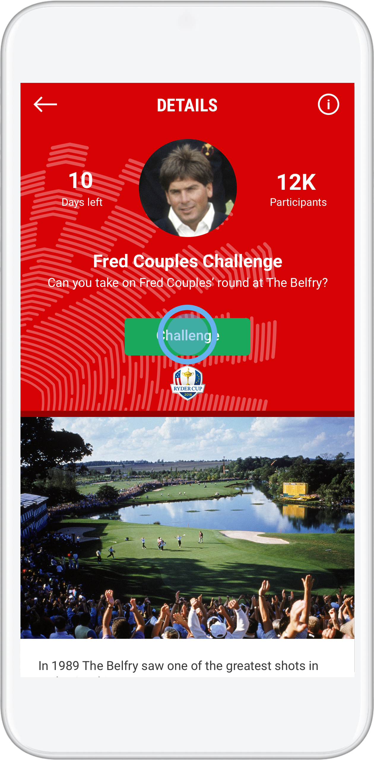 ryder cup fan game o connor jr vs couples golf gamebook